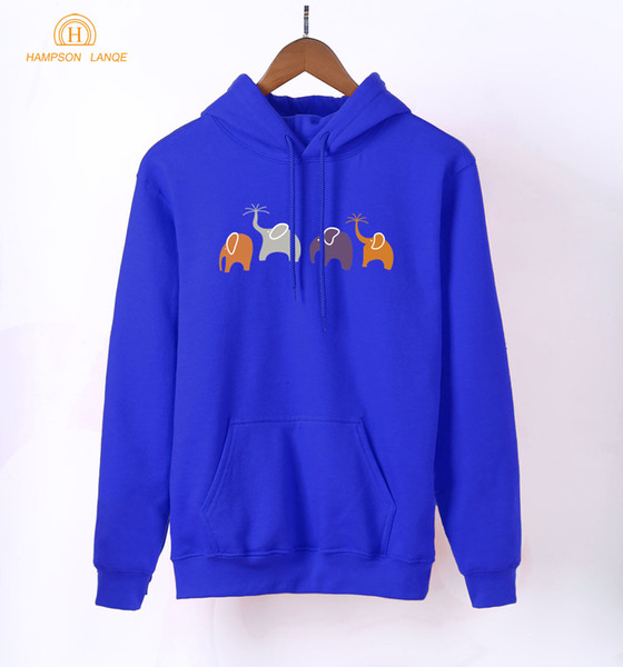 Kawaii Animal Elephant Print Women Hoodies 2018 Spring Anime Sweatshirt Harajuku Long Sleeve Hooded Black White Blue Pullovers