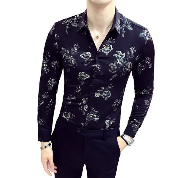 Siyah Beyaz Gömlek 2018 Sonbahar Kış Uzun Kollu Moda Tasarımcısı Parti Kulübü Balo Parti Gömlek Erkekler Için Şık Altın Ince Gömlek