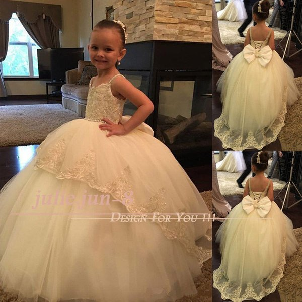 Princess Style White Flower Girls Dresses Jewel Neck Puffy Tulle Ball Gown First Communion Dresses For Wedding Garden Wear Custom Made