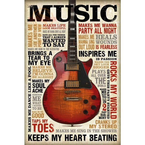 Guitare Musique Affiche D'impression Tissu En Soie Affiche D'impression Tissu Tissu Mur Personnalisé Satin CD114