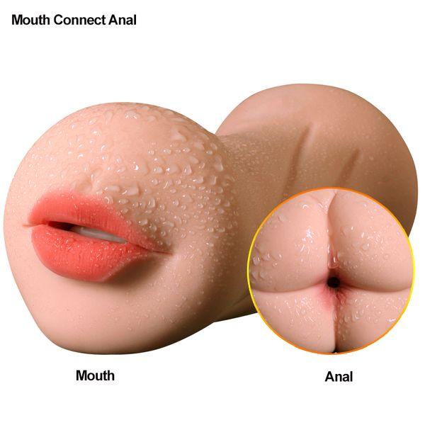 FLXUR Male Masturbator Sex Toys For men Artificial Vagina Anal Mouth Stimulate Penis Man Orgasm Oral Tongue Realistic Vagina Y18982802