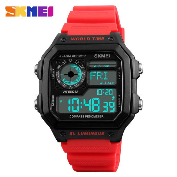Countdown Compass Sport Watch SKMEI Mens Watches Top Brand Luxury Men Wrist Watch Waterproof LED Electronic Digital Male Watch