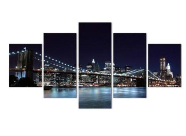 5 Piece Wall Art Canvas Prints New York Brooklyn Bridge Night Landscape Modern Living Room Decor
