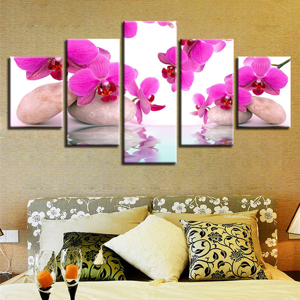 Canvas Pictures Modular Wall Art Framework 5 Pieces Moth Orchid Flowers Paintings HD Prints Posters For Living Room Home Decor