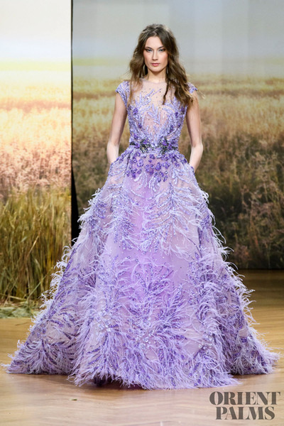 2019 Ziad Nakad Purple Prom Dresses Luxury Feather Beads Appliques Sweep Train Girls Quinceanera Dresses Cap Sleeve Eveing Gowns Illusion