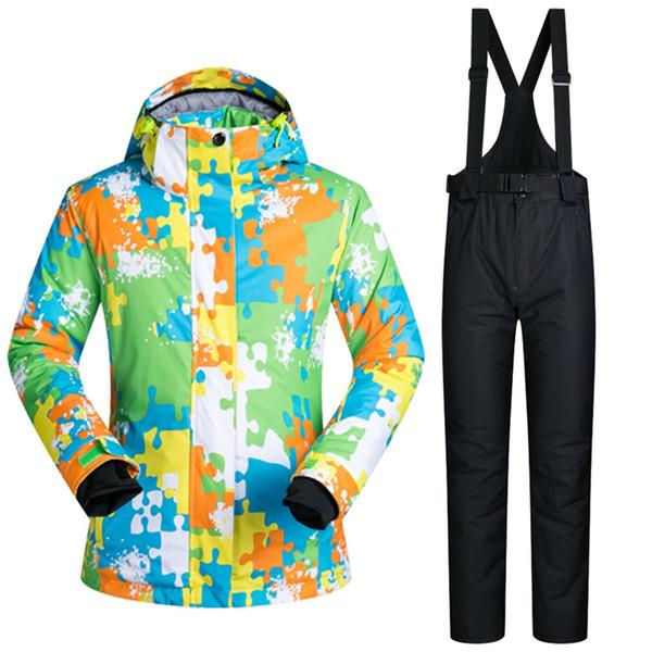 Lovers Ski Suits Waterproof Men Women Ski Jacket + Pants Warm Thicken Snowboard Clothes Pants Set Windproof Breathable Skiing