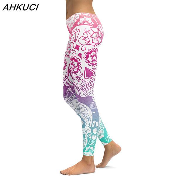 AHKUCI New 3D Printed Leggings For Women Halloween Legging Plus Size Women Skull Patterned Leggings Print Fitness Leggins Pants