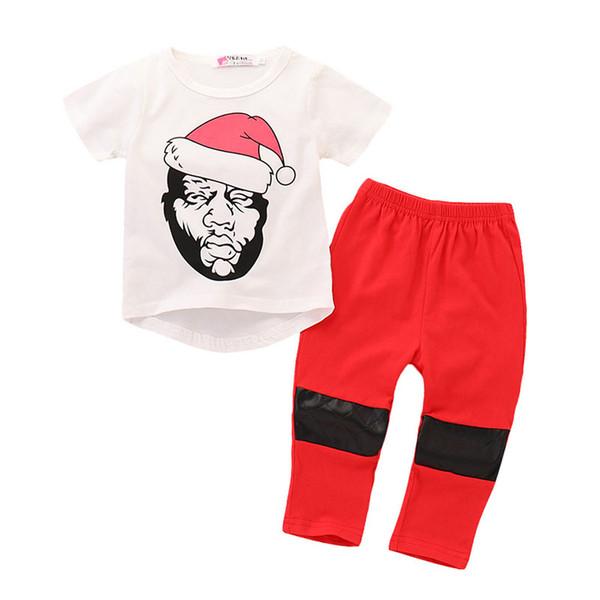 Noel Bebek boys kıyafetler çocuklar Noel Baba baskı üst + yama pantolon 2 adet / takım 2018 Noel Butik çocuk Giyim Setleri C4855