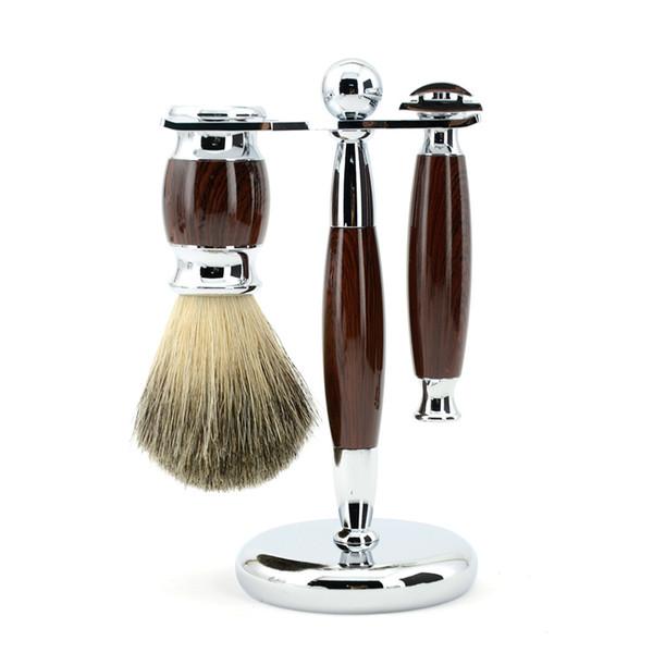 ZY Men Shaving Set Adjustable Double Edge Blade Razor Pure Badger Beard Brush Stand Holder Safety Razor Shave Kit Free 10 Blades