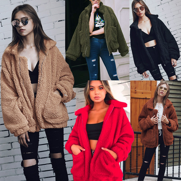 Hot Style 2018 Autumn Winter Fashion Zipper Short Coat for Women Girls Lapel Neck Long Sleeves Pockets Wool Blend Comfortable Jackets S--3XL