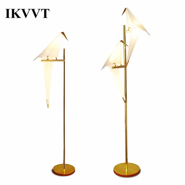 IKVVT Modern Simple Bird Floor Lights Golden Iron Paper Crane Standing Lamp for Restaurant Livingroom Bedroom Indoor Deco LED