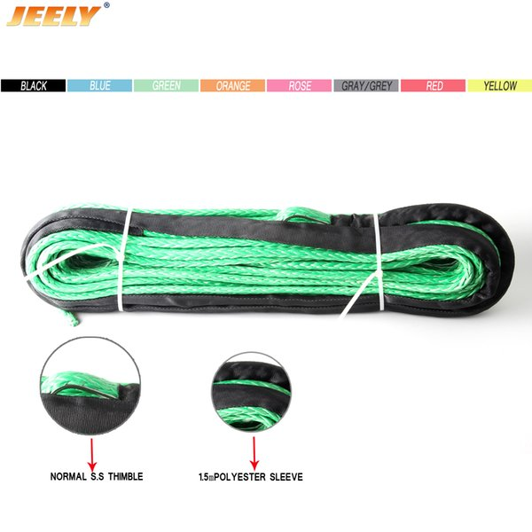 best selling Free Shipping 10MM 30M 12 Strand UHMWPE Synthetic 4X4 ATV Winch Rope With Thimble