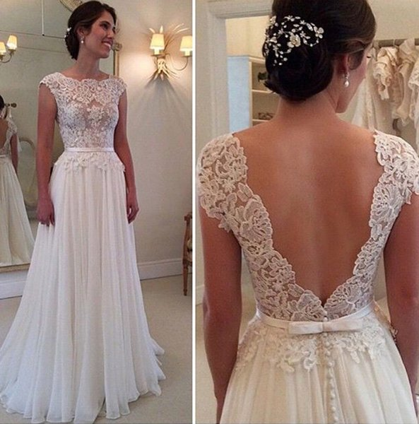 2018 New Bateau Women Wedding Dresses A-line Cap Sleeves Bridal Dresses Top Lace Waist Sash Bow Chiffon Skirts V-Back Bohemian Styles Cheap