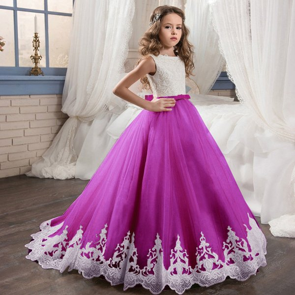 Formal Custom Cute Little Girl's Princess Gown Flower Girl Dress For Wedding Tutu Floor Length Hand Made Kids Party Birthday Dress
