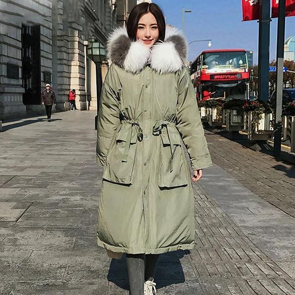 Piumino bianco 110kg Piumino donna inverno Parka Piuma d'oca Cappotto lungo Taglie forti Abbigliamento caldo Pelliccia di procione Capispalla