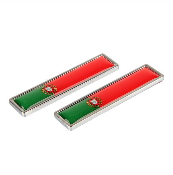 Car Styling Sides sticker Portugal Flag New Pair Metal Label 3D Car Stickers Auto Metal Emblem fit for Ford Citroen Suzuki