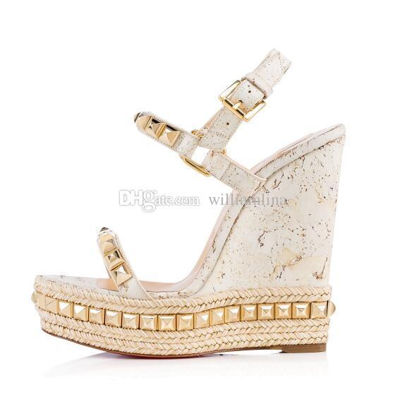 2018 Spring/Summer High Quality Studded Red Bottom Sandals Cataclou Cork White Women Wedges Ankle Straps Ladies Pumps Brand Party Dress