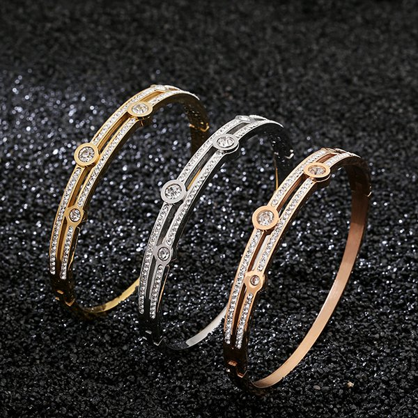 Fashion Women 2 Row Of Small Diamond Bracelet 3 Colors 18K Gold Rose Gold Bangle For Daily Wearing Best Gifts For Party, Anniversary