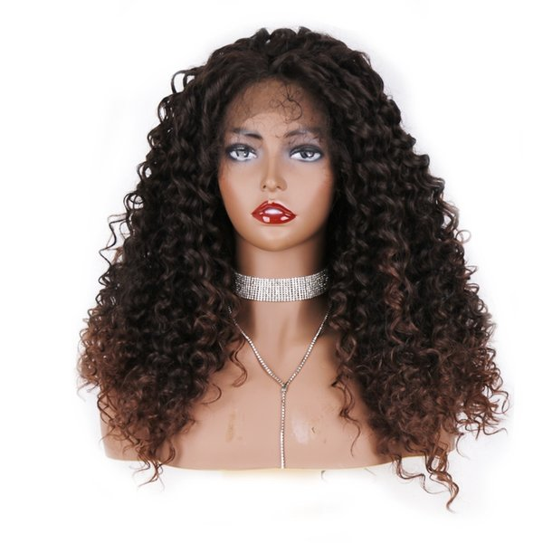 Free Shipping High Temperature Long African American Wigs 180% Density Ombre Brown Afro Kinky Curly Synthetic Lace Front Wig With Baby Hair