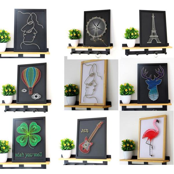 Décoré Abstrait Picture Art Dessin Enroulement DIY Peinture pour Canapé Décoration Murale avec Cadre Décoration Murale De Noël Cadeau 14styles
