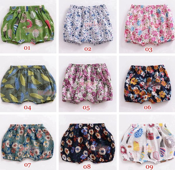 INS Summer Baby Cotton PP Shorts Kids Summer Flower Print Pants Shorts Baby Girls PP Pants Bloomers 14colors chosoe free ship