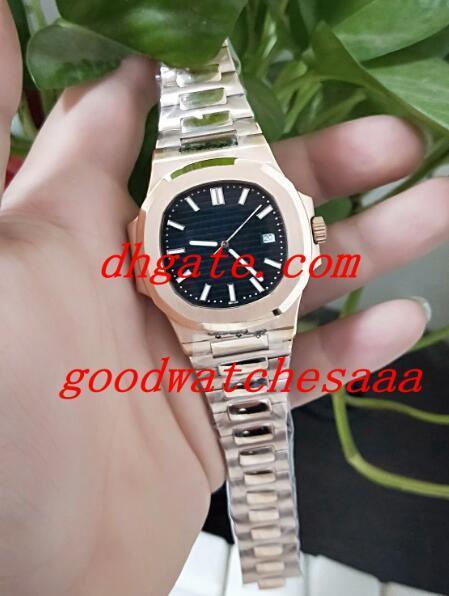 Barato Novo Nautilus 5711 1R-001 5711 39.6mm Black Dial Correia De Aço Inoxidável de Alta Qualidade Relógio Automático dos homens Movimento