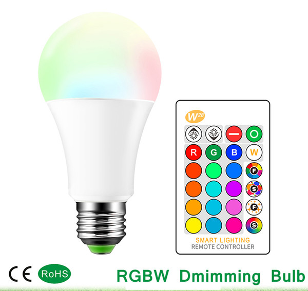 top popular Dimmable LED Bulb 3W 5W 10W B22 E27 LED Light Bulb Hight Brightness 980LM White RGB Bulb 220 270 Angle With Remote Control 2020