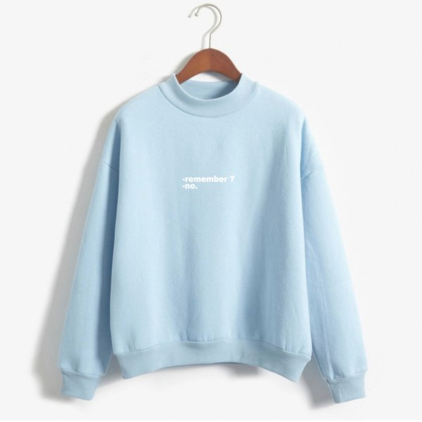 Sudaderas Mujer 2017 Hoodies Women Remember No Letters Printed Pastel Colors Sweatshirt Moletom Feminino Turtle Neck Pullover