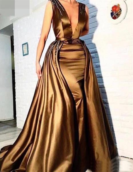 Vestidos de Noite de ouro Com Saia Destacável Profundo Decote Em V Formal Longo Frisada Árabe Vestidos de Baile Vestidos de Festa Para O Desgaste da Noite