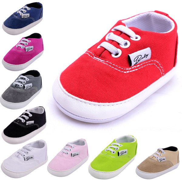 4 Pcs Wholesle Mix Color Newborn Baby Boy Shoes First Walkers Soft Soled Canvas Infant Toddlers Girls Anti-slip Moccasins Sneakers