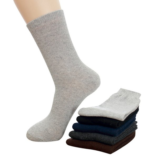 5pairs /Lot Men Winter Thicken Warm Rabbit Wool Business Long Cotton Socks For Male Stripes Diamond Plaid Patterns High Socks