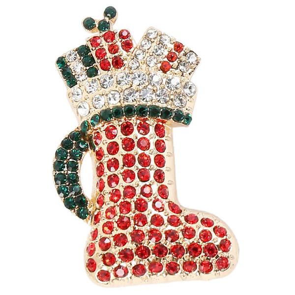 Christmas Brooch Pins Elk Rhinestone Brooches Alloy Wedding Bridal Dress Scarves Shawl Clip Xmas Ornament Gifts Jewellery