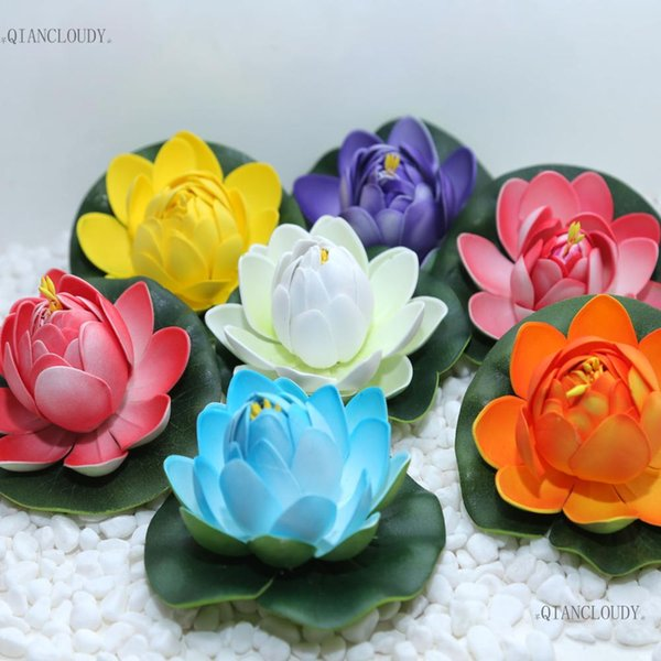 fake lotus 10 pieces Artificial Fake Lotus flowers Buds Leaves Water Lilies Floating pond flowers Pool Plants Wedding Decoration C97