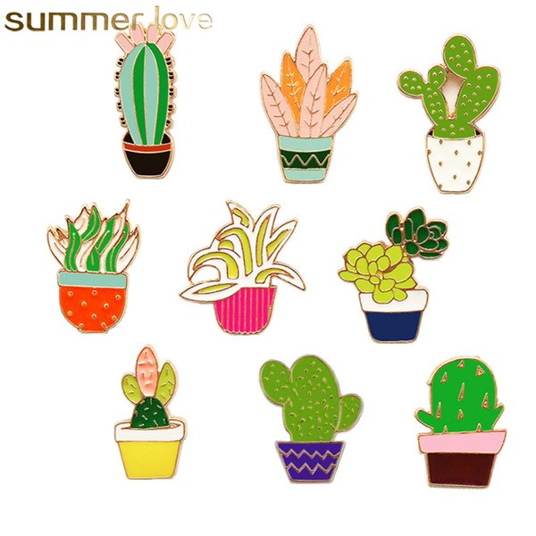 Esmalte pins Bosque Japonés Fresco Planta Broches Broche Floral 9 Estilo Cactus Creativo Diseño Simple Joyería Collar Pin Broche al por mayor
