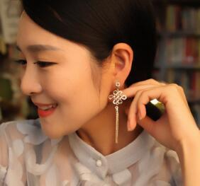 new hot New spring and summer national fringe earrings Chinese knotted earrings long style earrings classical exquisite