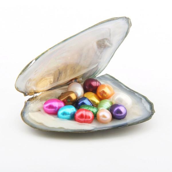 Ostriche di perle naturali all'ingrosso con perle ovali 30pcs 6-7mm / Oyster Inside (15 colori misti) Con confezione regalo di perle per confezioni sottovuoto