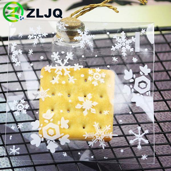 ZLJQ Snowflakes Poly Cellophane Bolsa autoadhesiva Navidad Bolsas de plástico autoadhesivas de año nuevo Bolsa de caramelo de galletas de año nuevo 7J