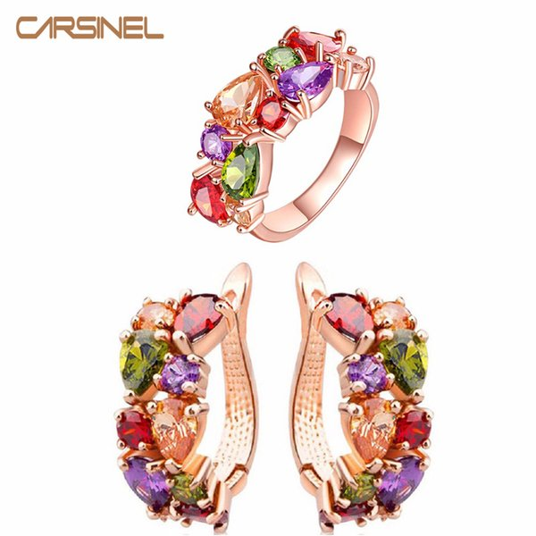 whole saleCARSINEL Luxury Colorful Wedding Jewelry Sets Rose Gold-color Earrings&Ring Shining CZ Zircon Bridal Jewelry Sets JS0069