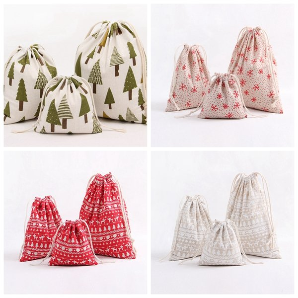Christmas Gift Bag Reindeer Storage Bag Cotton Drawstring Bundle Bags Xmas Tree Snowflake Candy Tea Wrap Decoration 3pcs/set GGA705