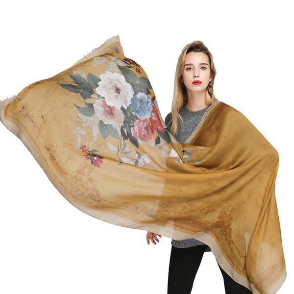 Wholesale 90*180cm 7 Colors Floral Pattern Polyster Designer Scarf Women Hijab Shawls Pashmina Wrap Scarf Table Blanket Beach Towel