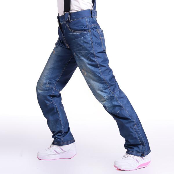 -30 Degree Thermal Jean Snowboard Pants Suspenders Denim Skiing Pants Winter Female Windproof Waterproof Snow Trousers
