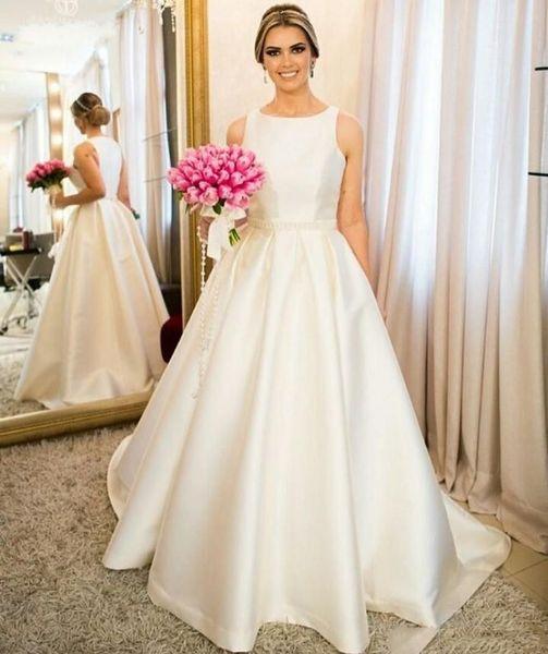 2019 Elegant Ivory A Line Tank Sleeveless Wedding Dresses Jewel Neck Simple Satin Bridal Dresses Charming Wedding Gowns With Pearls