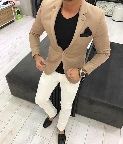 Großhandel Neuesten Mantel Hose Designs Khaki Männer Anzug Smart Casual Business Klassischen Männer Anzug Für Hochzeit Prom Büro Jacke + Hosen Von