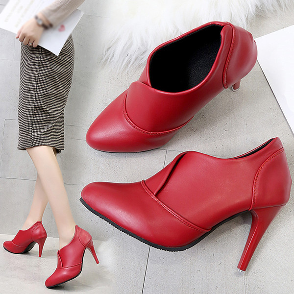 Women Ponited Toe Shoes Pure Color Slip-On Martin Boots Hight Heel Single Shoes Woman winter Lady Snow Boots Fashion Classic Hot