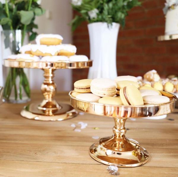 "Gold Plated Mirror Cake Stand 8""10""12"" Wedding Cake Shelf Dessert Tray Metal Wedding Display Tower"