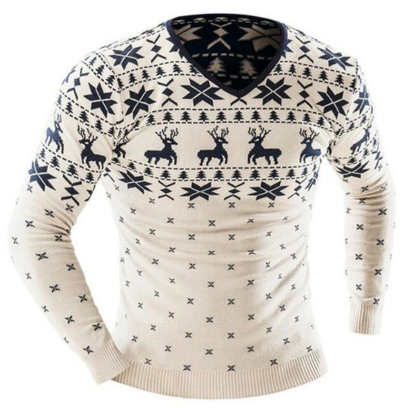 CALOFE 2018 Men Christmas Winter Pullover Sweater Deer Printed Long Sleeve Sweaters Men's Casual Slim Fit Thick Jumper Pullover