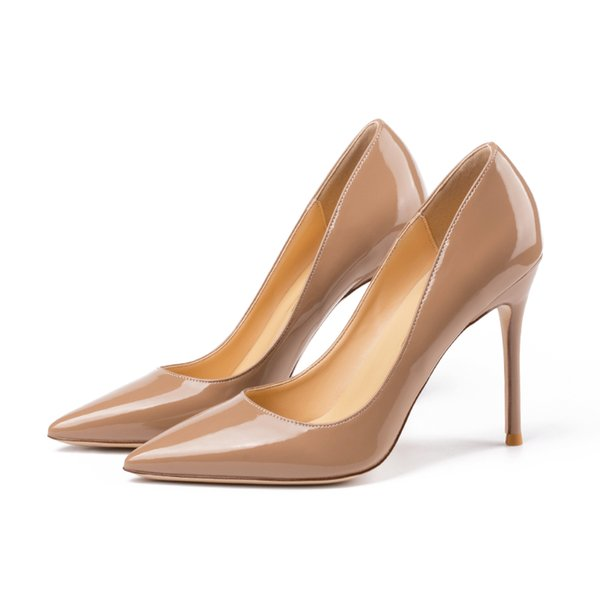 Real photo Fashion Women Pumps sexy lady Red Nude patent Point toe shoes pumps Stiletto heels boots bride wedding shoes party shoes 10cm