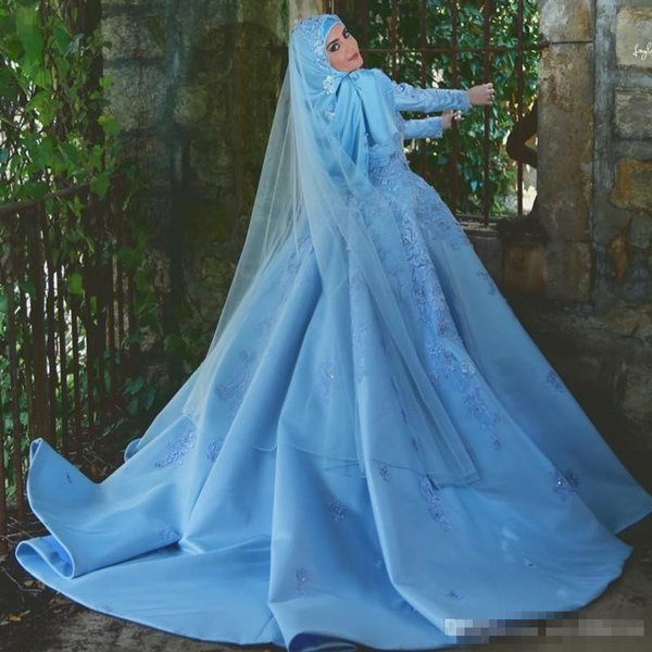 Vintage Sky Blue Muslim A Line Wedding Dresses With Long Sleeves Lace Appliques Sweep Trian Plus Size Bridal Gowns For Arabic Dubai Wommen