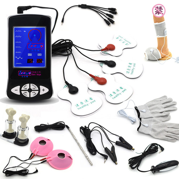 Electro Sex Kit Electric Shock Cock Ring Massage Pad Nipple Clamps Anal Plug Catheter Medical Themed Sex Toys For Men Woman Gay