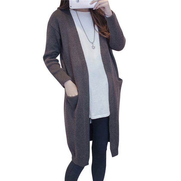 Pregnant Women X-Long Pullover Thick Winter Knitted Sweater V-neck Casual Full Sleeve Knee-Length Maternity Cardigan